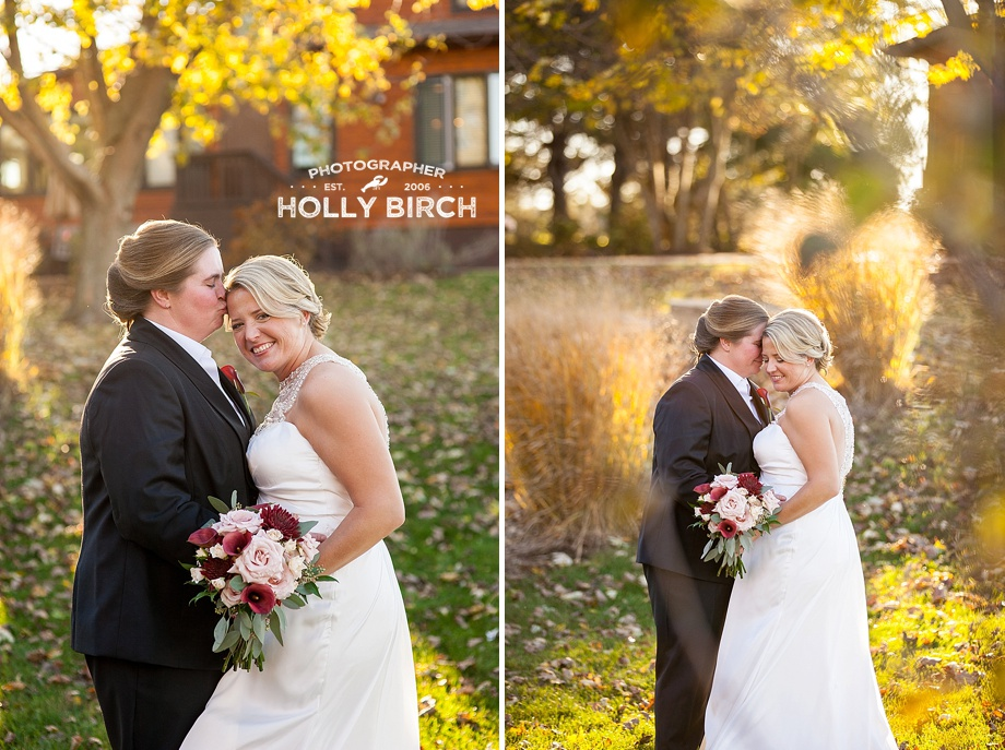 brides pose during golden hour on pear tree grounds