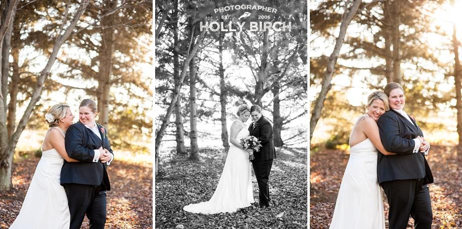 barren evergreen trees as wedding photo backdrop