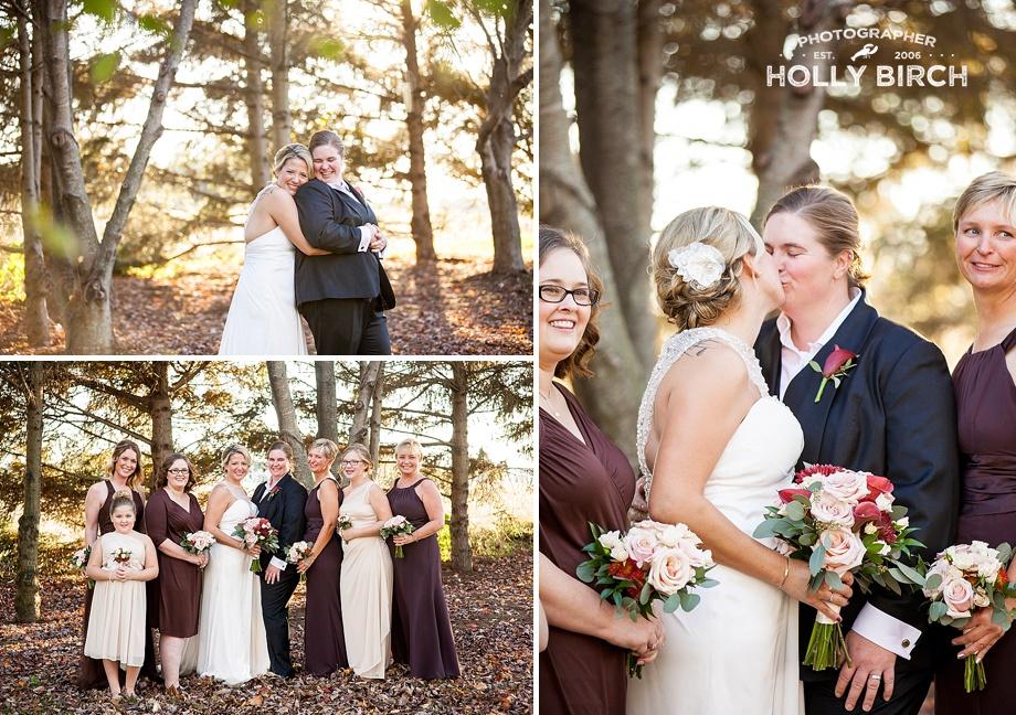 happy brides with wedding party