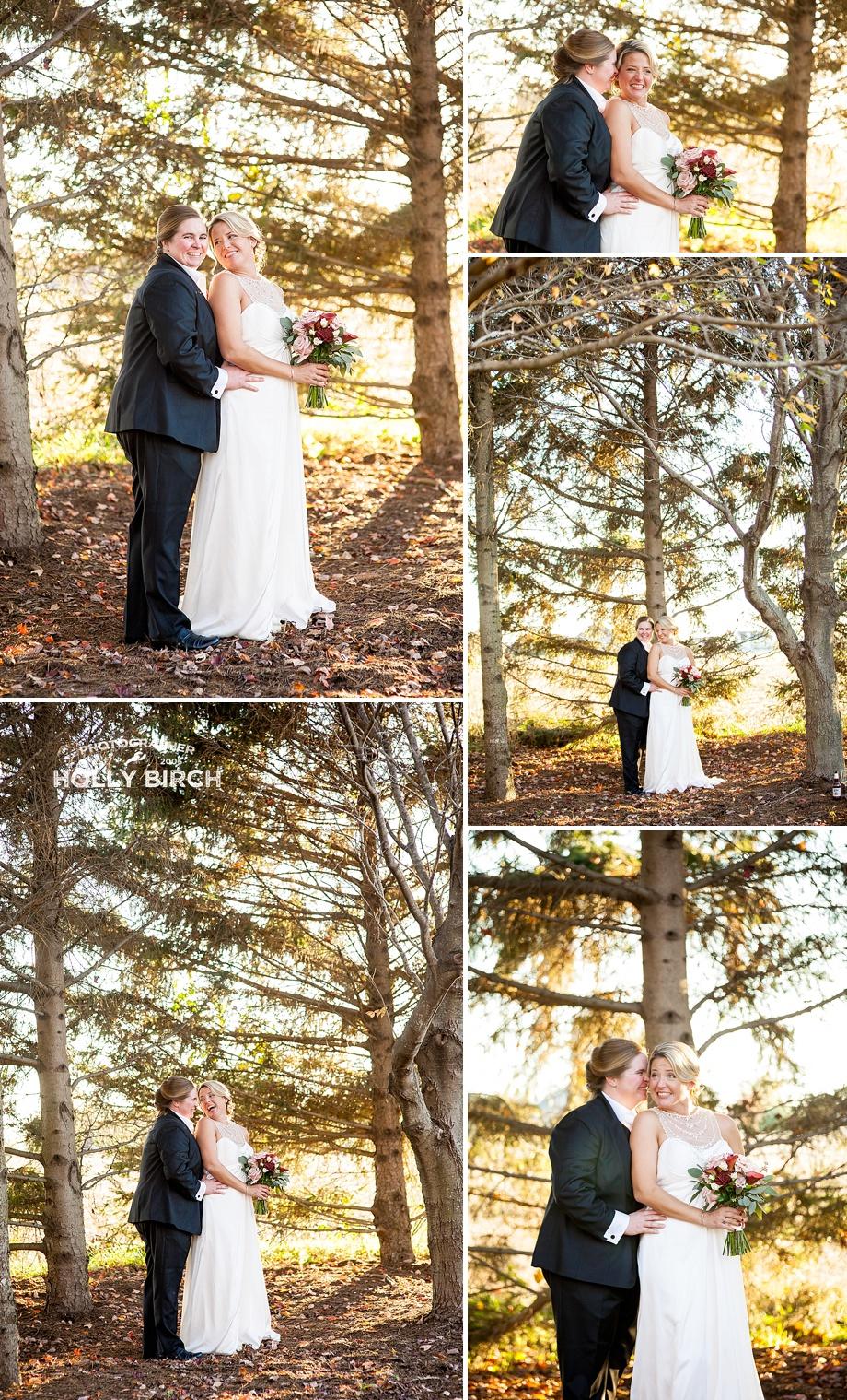 romantic wedding photos with autumn trees