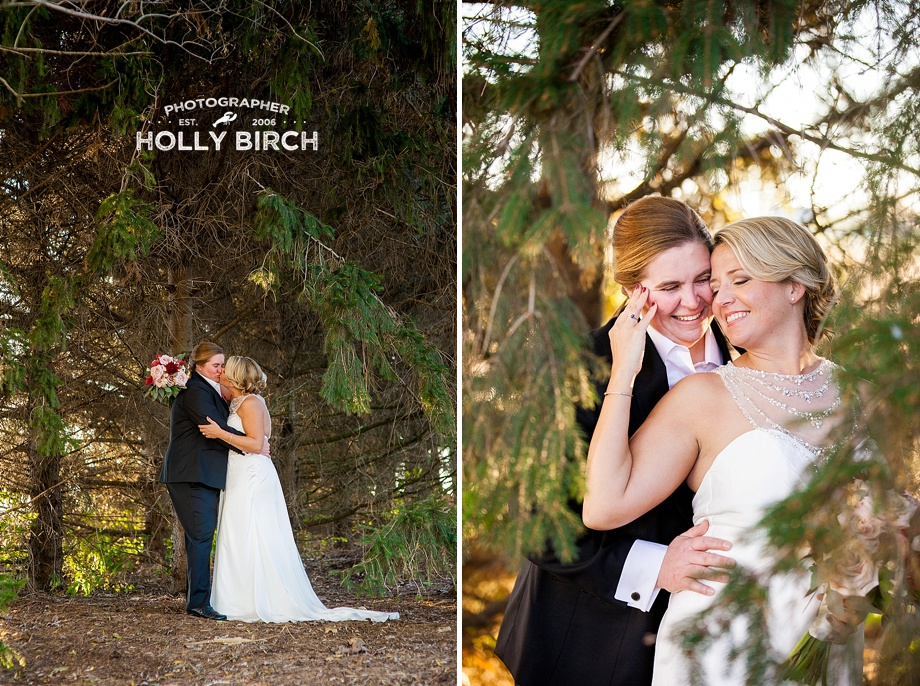 brides with golden hour light