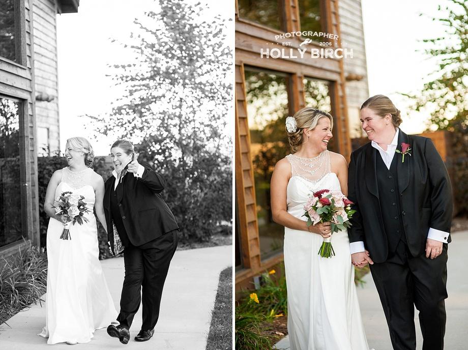 brides walking hand in hand in golden hour