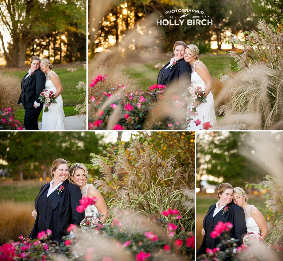 brides among tall grass and pink flowers