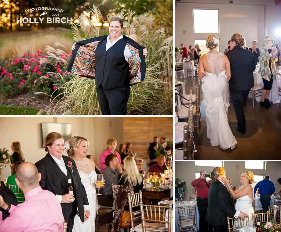 brides' entrance into reception at Pear Tree Estate