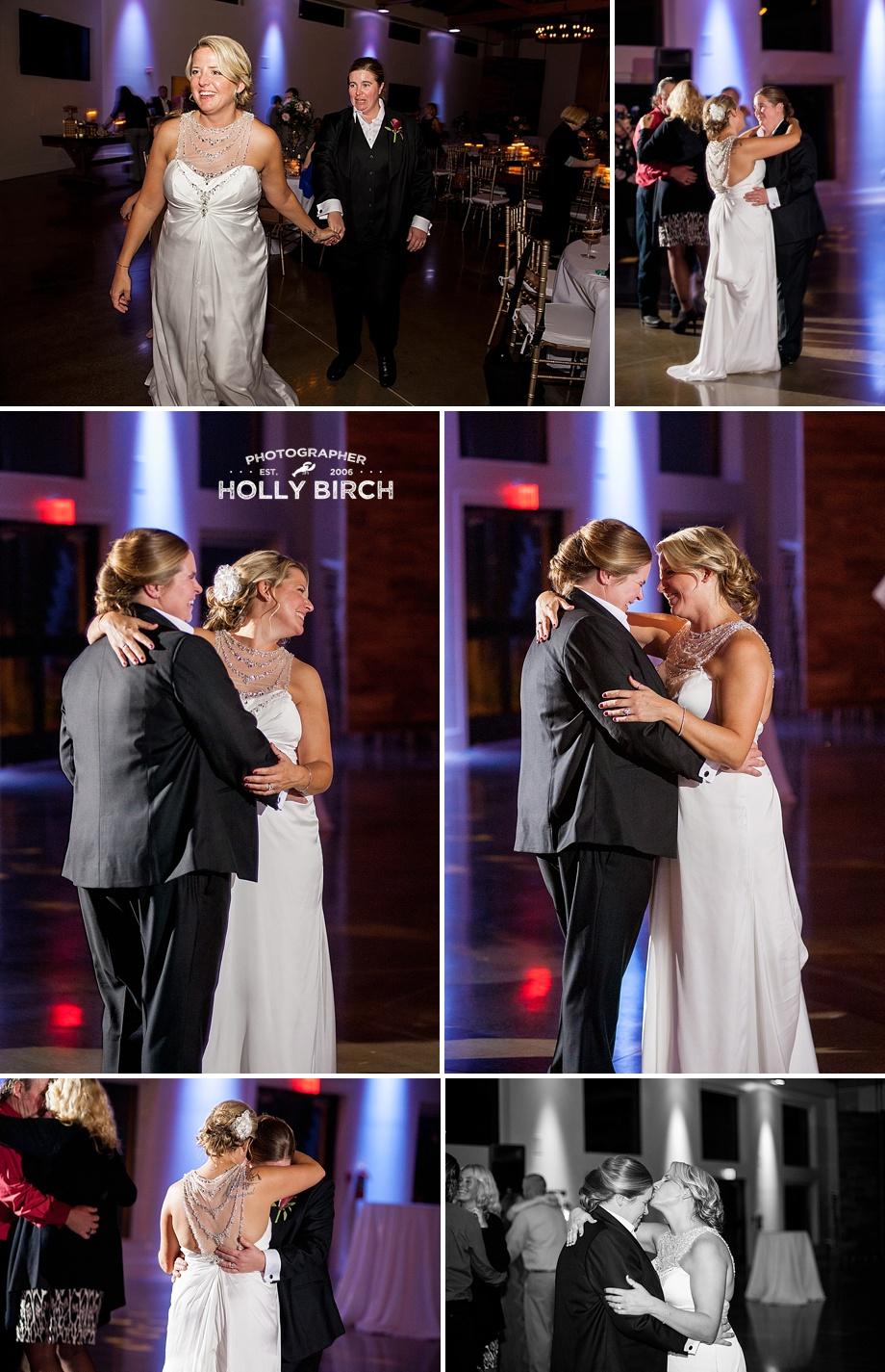 same-sex wedding dancing together during reception