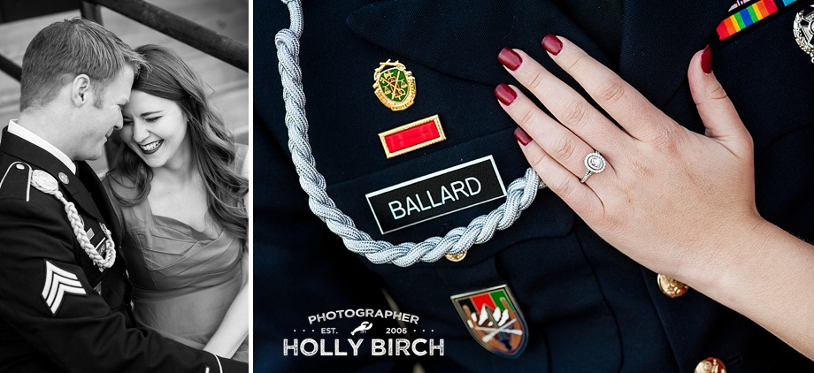 military uniform photos with engagement ring