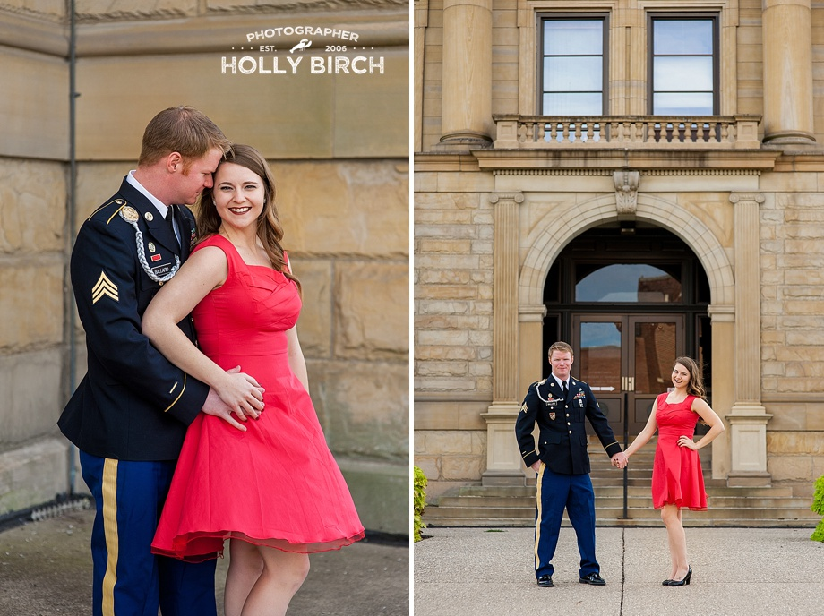 groom in uniform with bride in red dress