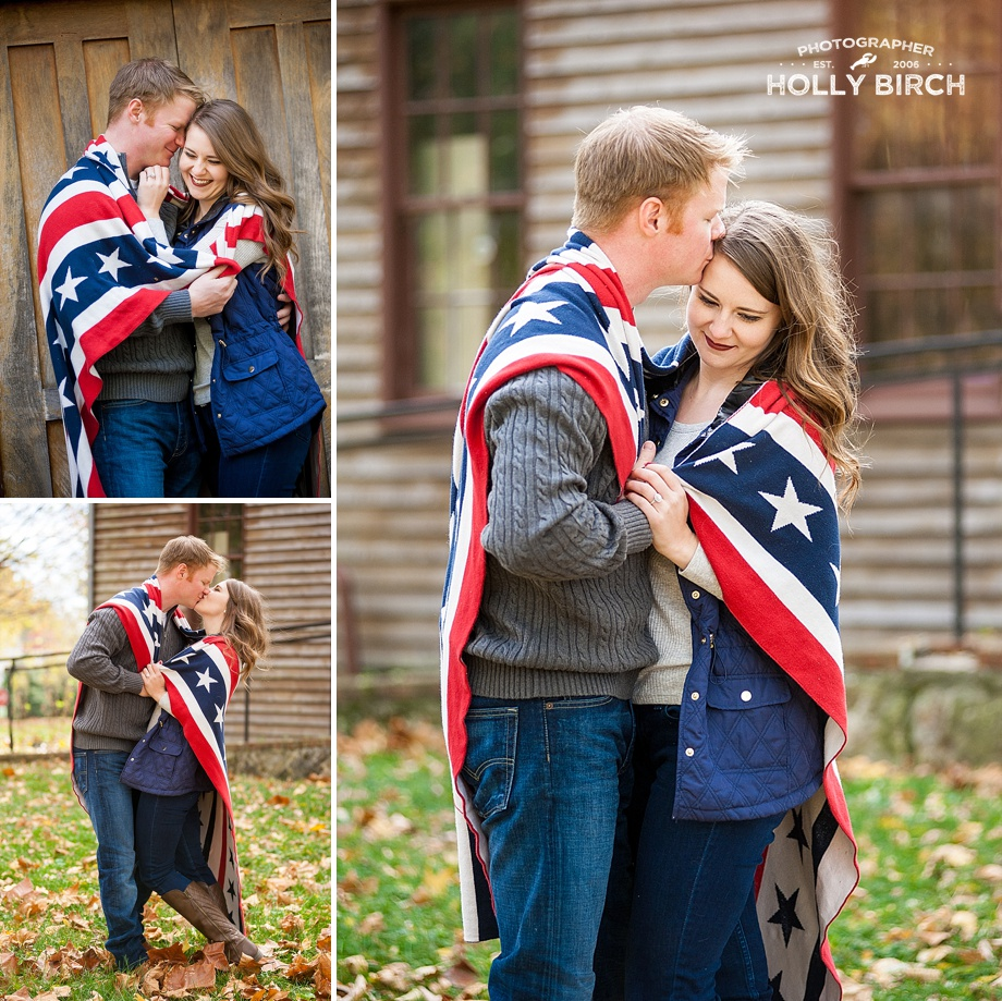 patriotic couples pose