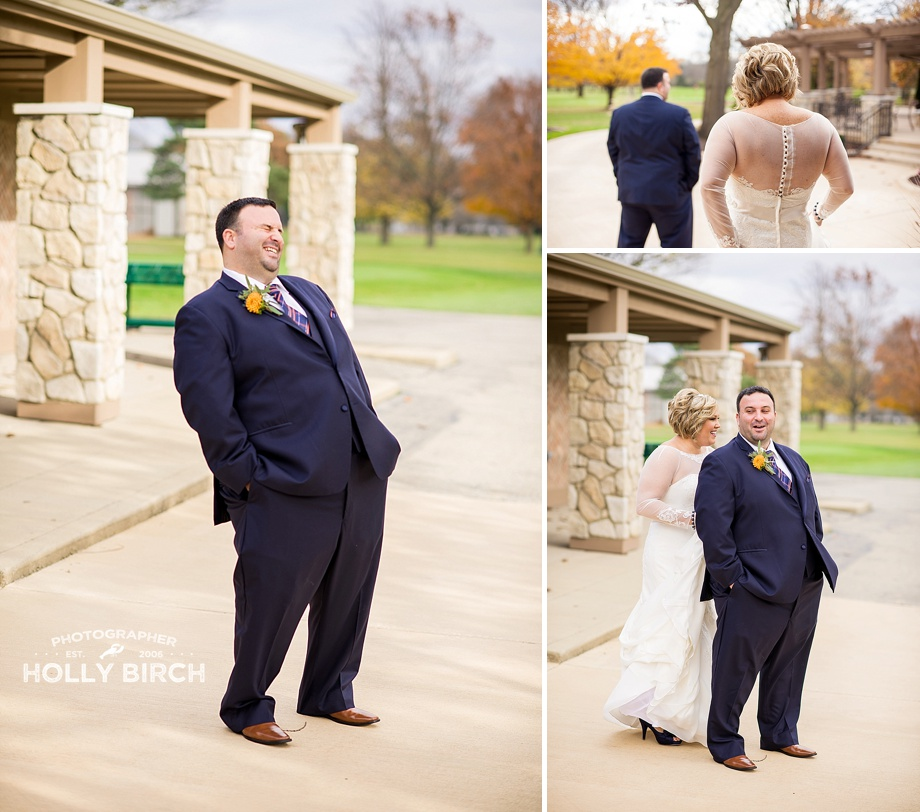 Golf course wedding first look
