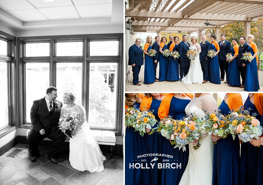 bridesmaids in navy Vera Wang