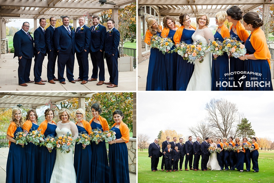 bridesmaids and groomsmen at fall wedding