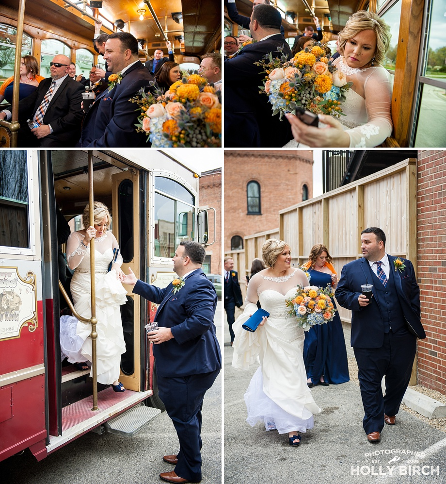 trolley wedding party fun