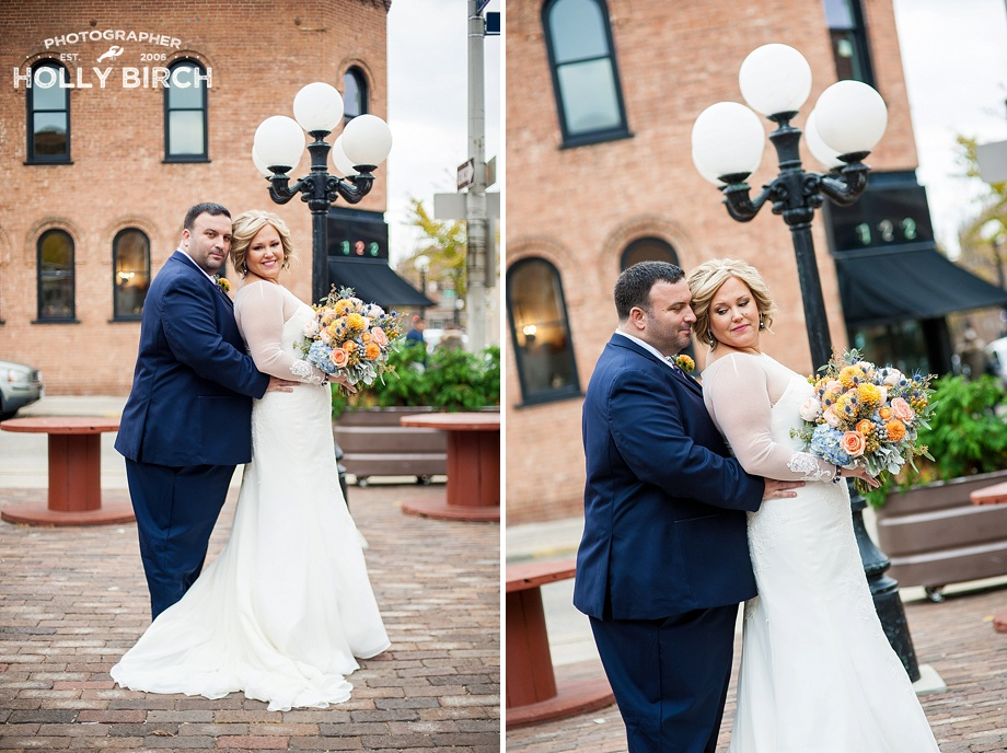 beautiful wedding photo with ornate street lamp