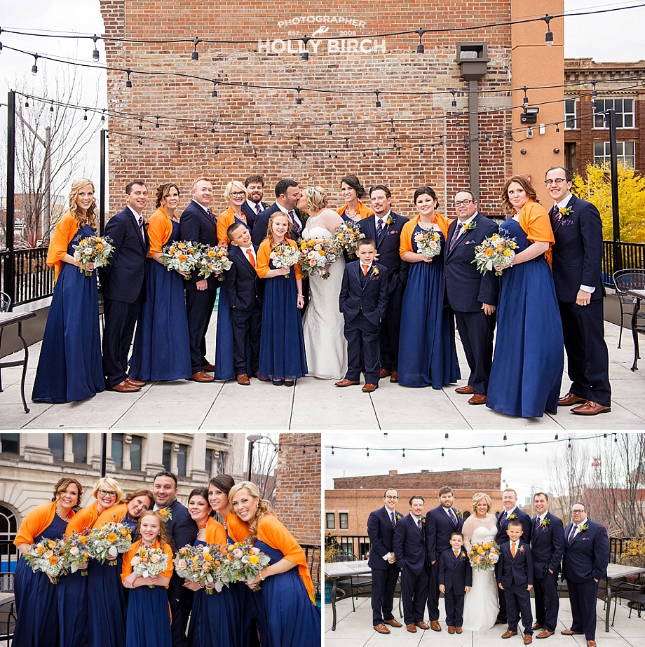 wedding party on rooftop in central Illinois