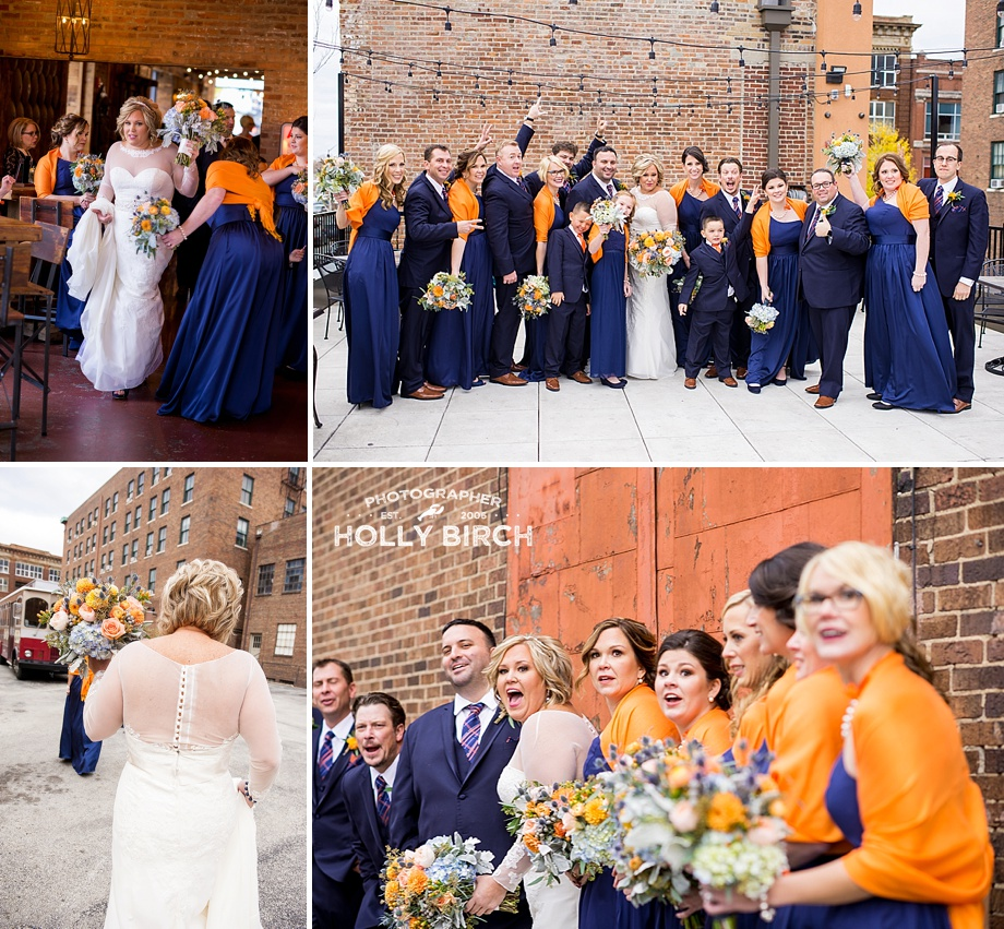 fall wedding party in navy and orange