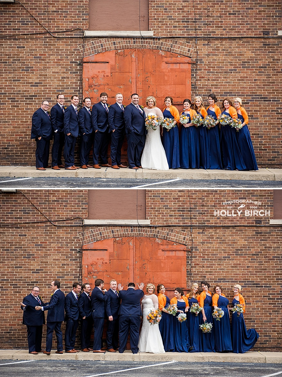 wedding party with urban industrial door