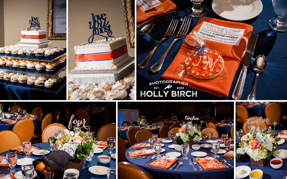 orange and navy wedding reception tables