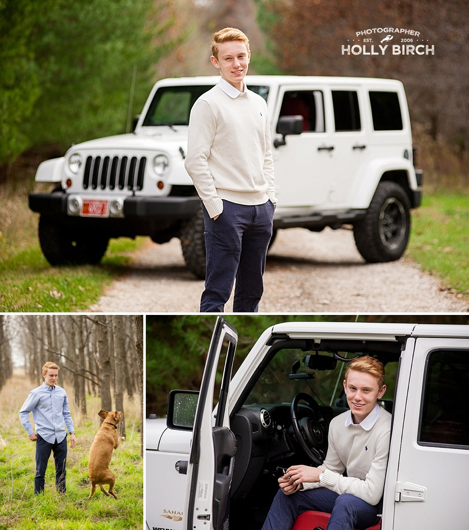 high school senior photography with car