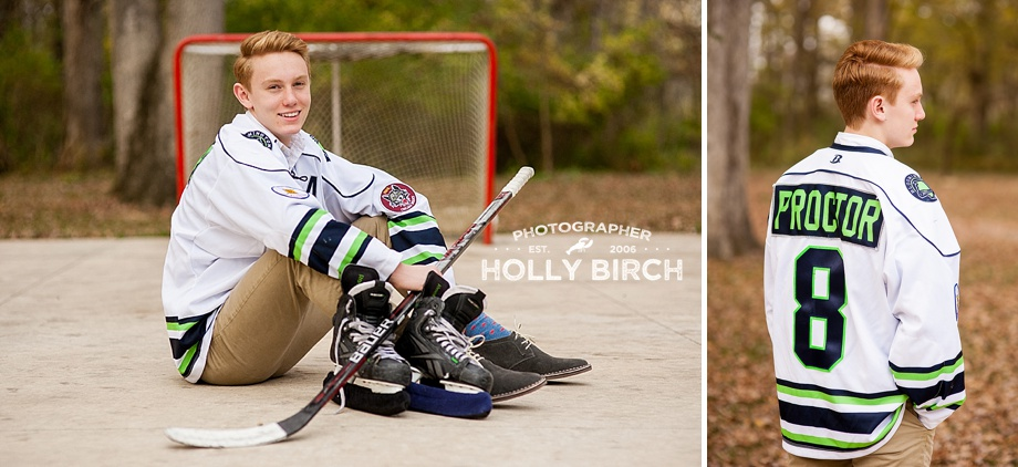 senior boy photography session with hockey gear