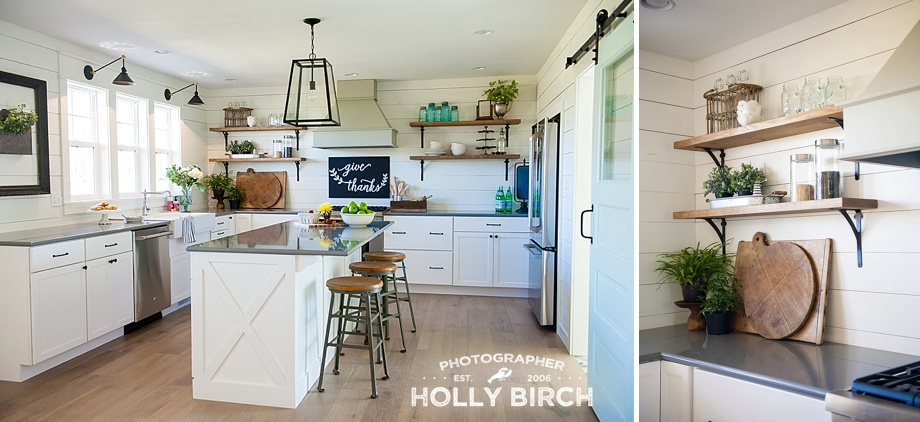 bright white kitchen with barndoor