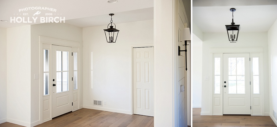 simple open entryway with iron light fixture