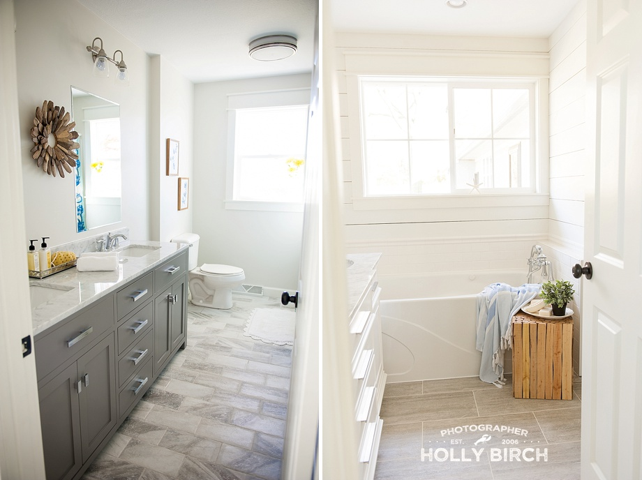 shiplap and tile bathrooms