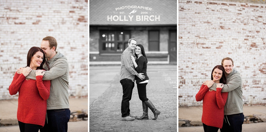 white washed brick wall engagement