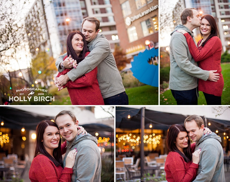 holiday twinkle lights engagement session