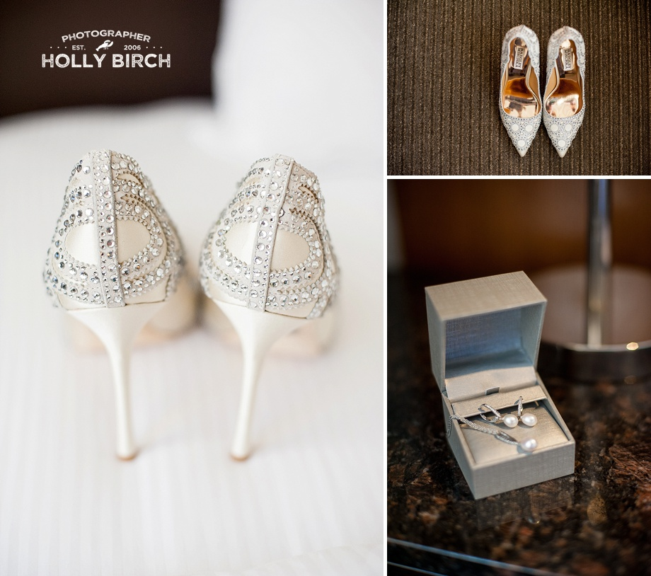 bride's Badgley Mischka shoes and jewelry