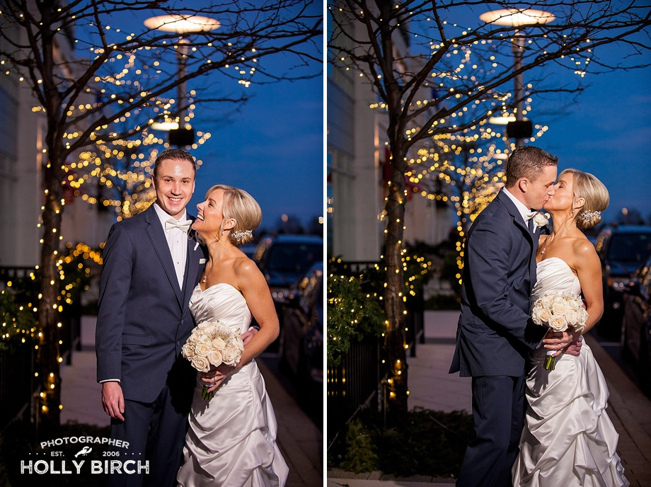 new Mr. & Mrs. holiday portraits with twinkle lights bokeh