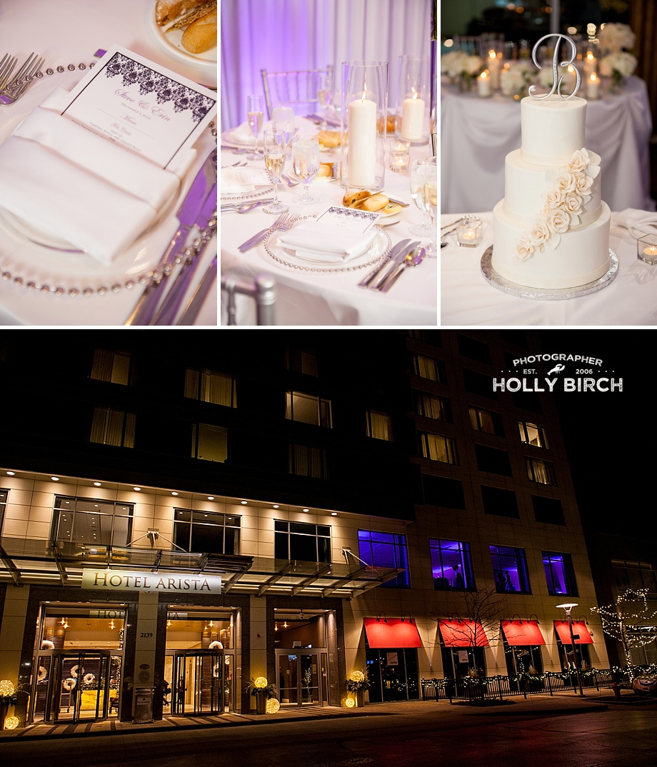 white wedding details at Hotel Arista Naperville