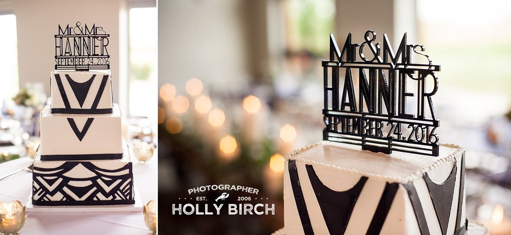 Hollywood art deco black and white wedding cake
