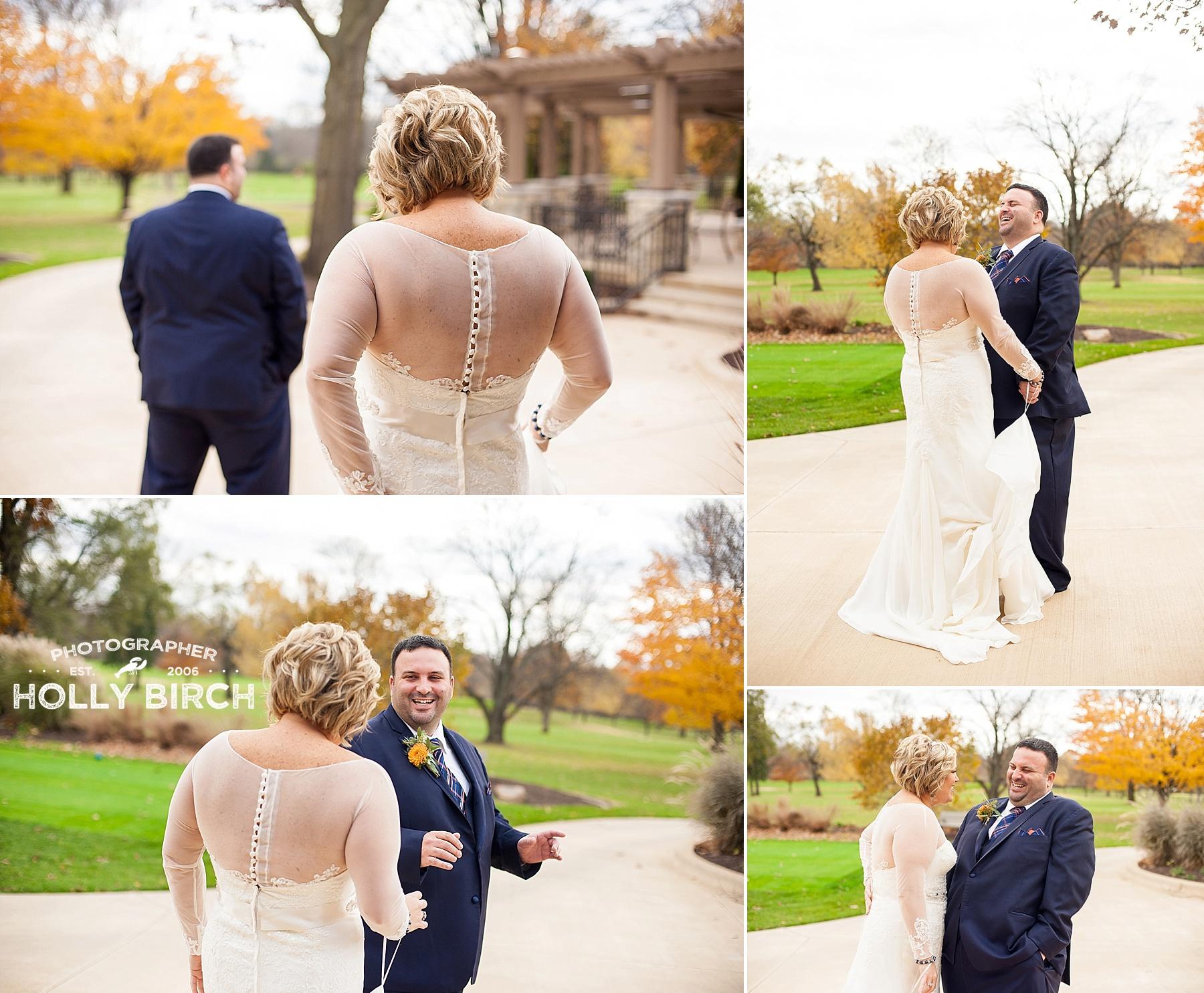 First Look at fall golf club wedding