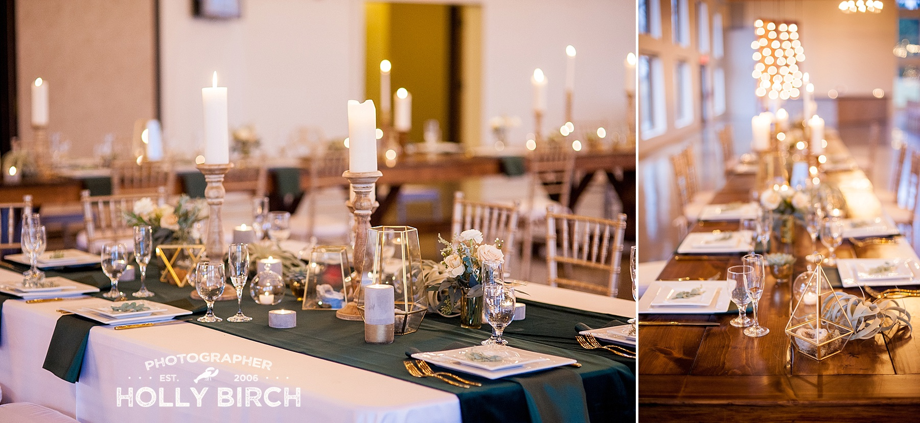 green velvet table runners with gold accents