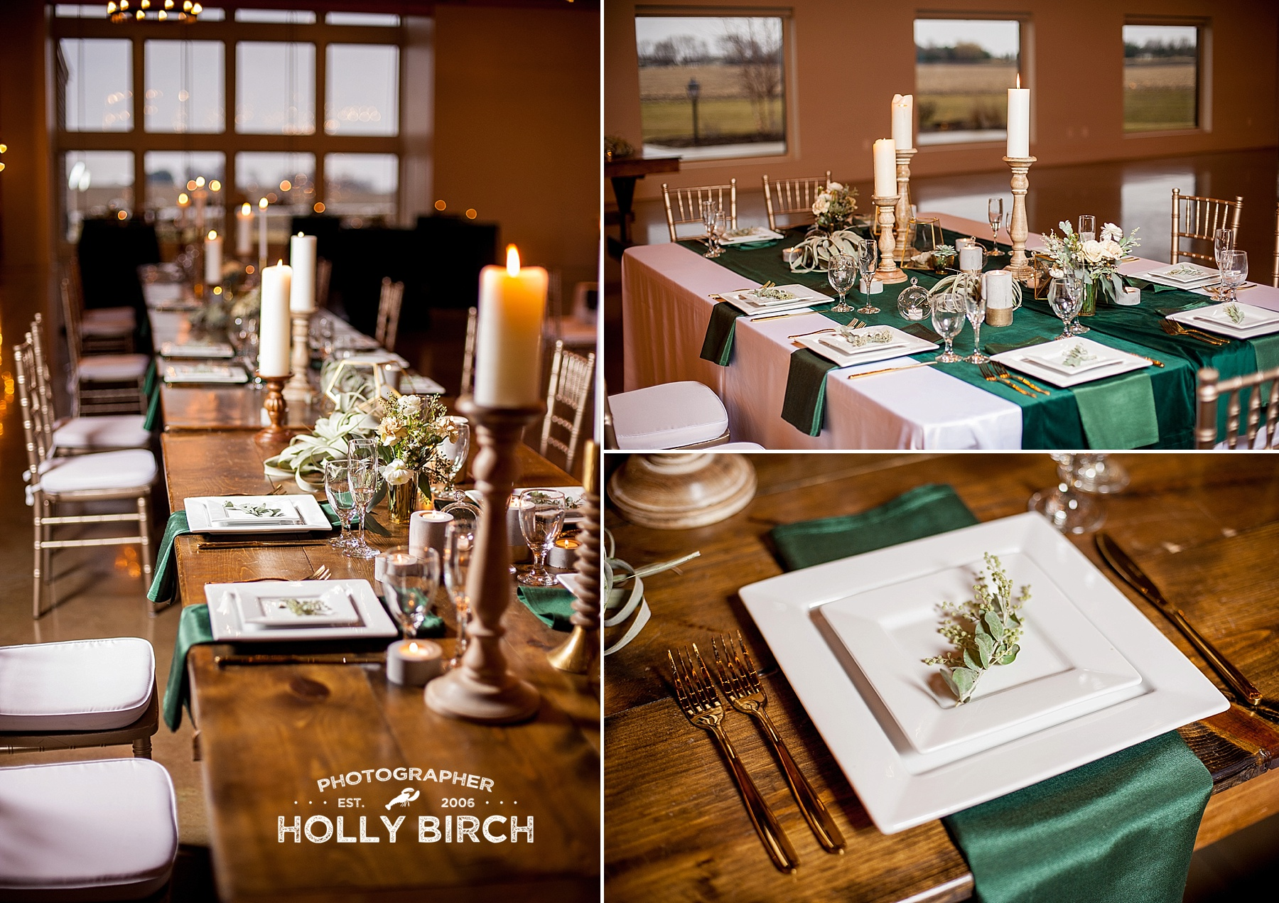 green and gold wedding decor details