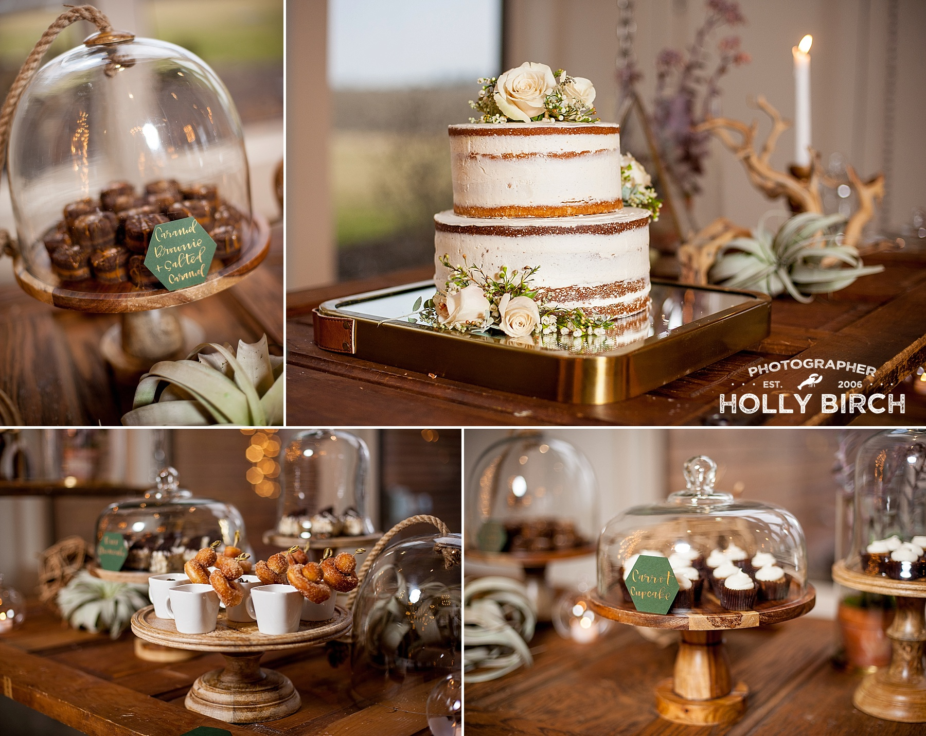 Cream & Flutter naked cake dessert table