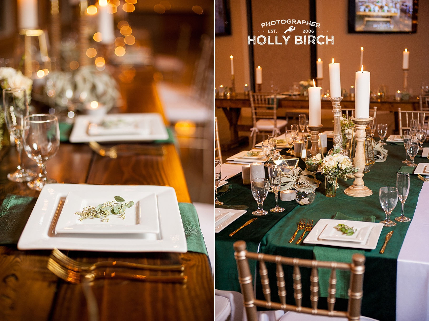 warm candles with crisp white plates and green tablecloth
