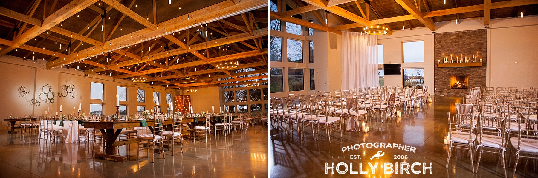 warm winter glow wedding ceremony venue