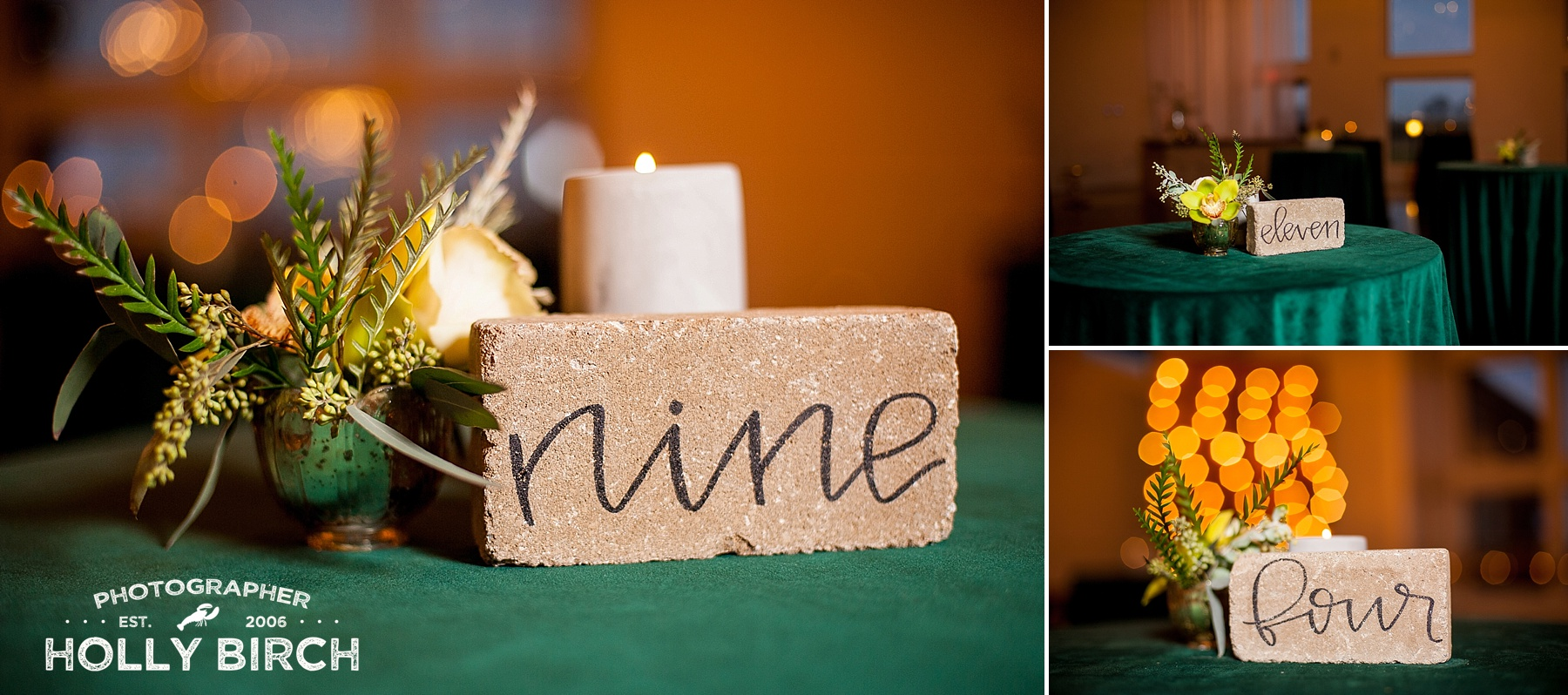 handlettered brick table numbers