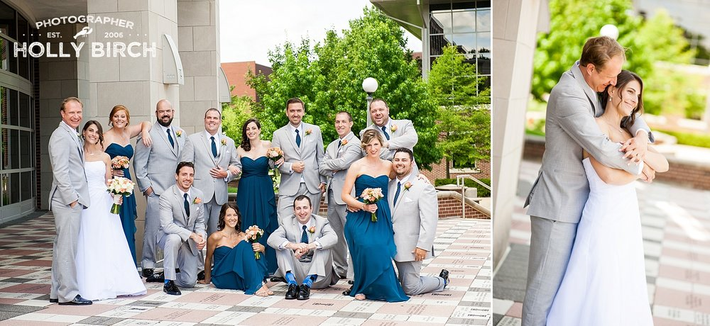 gray peacock blue wedding party on UI campus