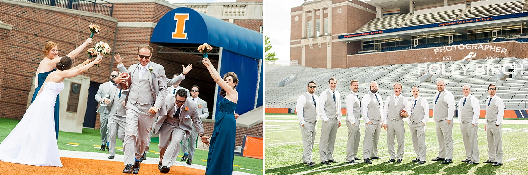 fun times with wedding party on football field
