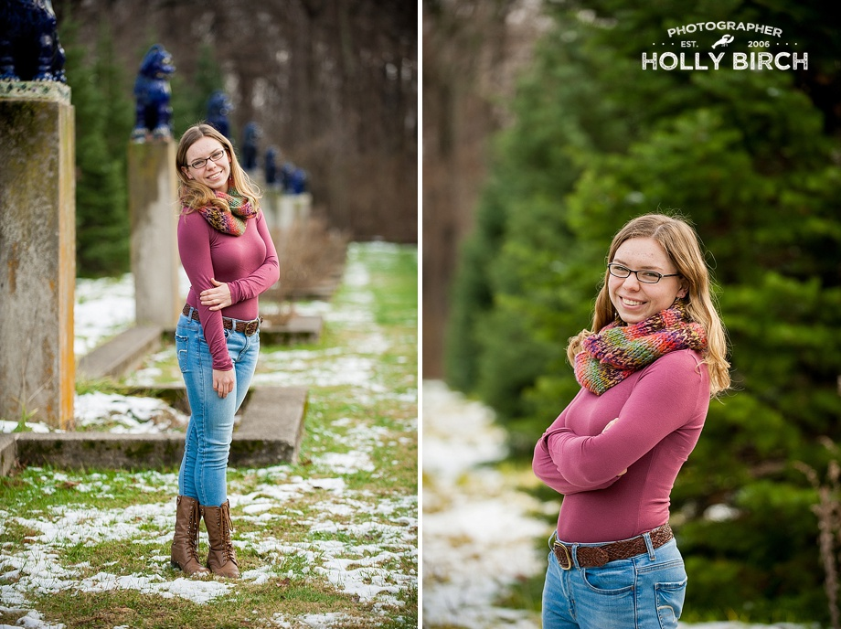 outdoor snowy grass senior girl session