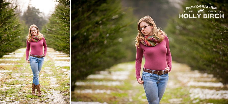 evergreen trees with senior photography