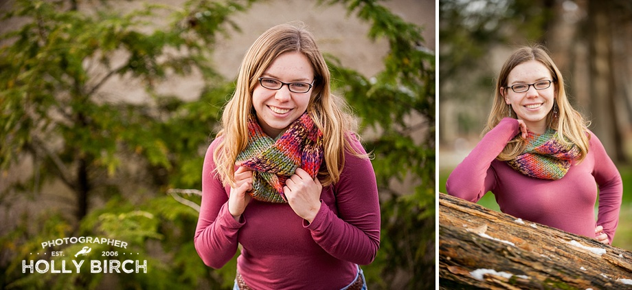 chunky scarf pose for senior girl