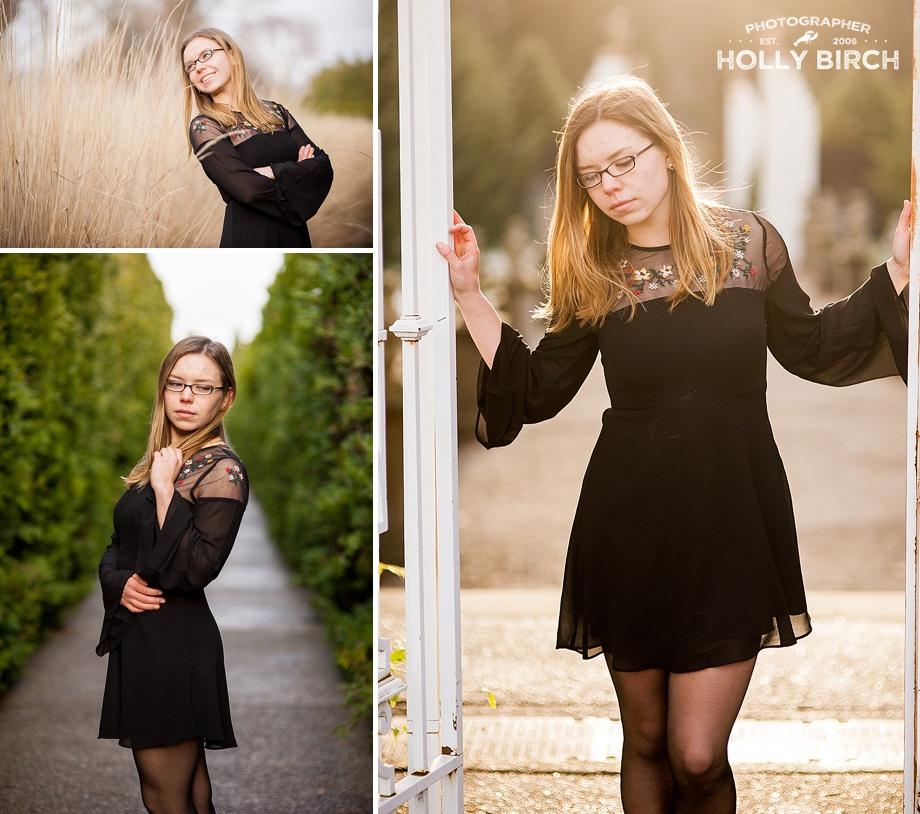 black dress casual senior girl photos