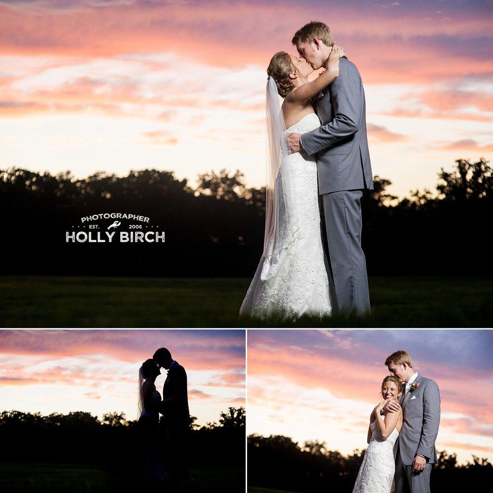 gorgeous red orange sunset wedding photos