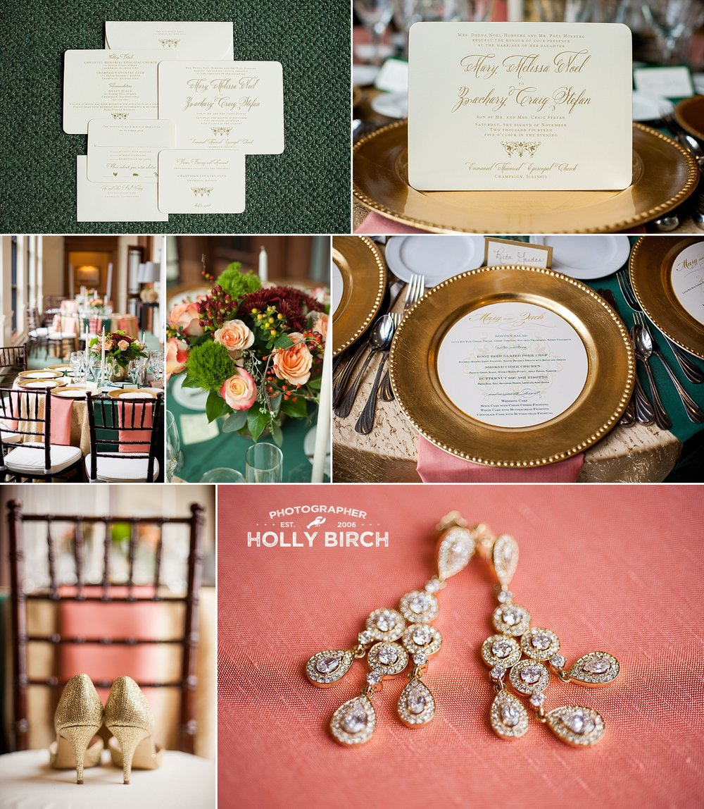 coral hunter green gold wedding
