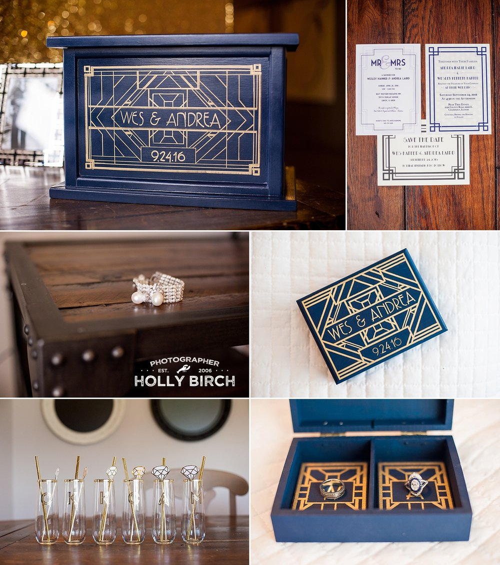 navy gold old Hollywood wedding