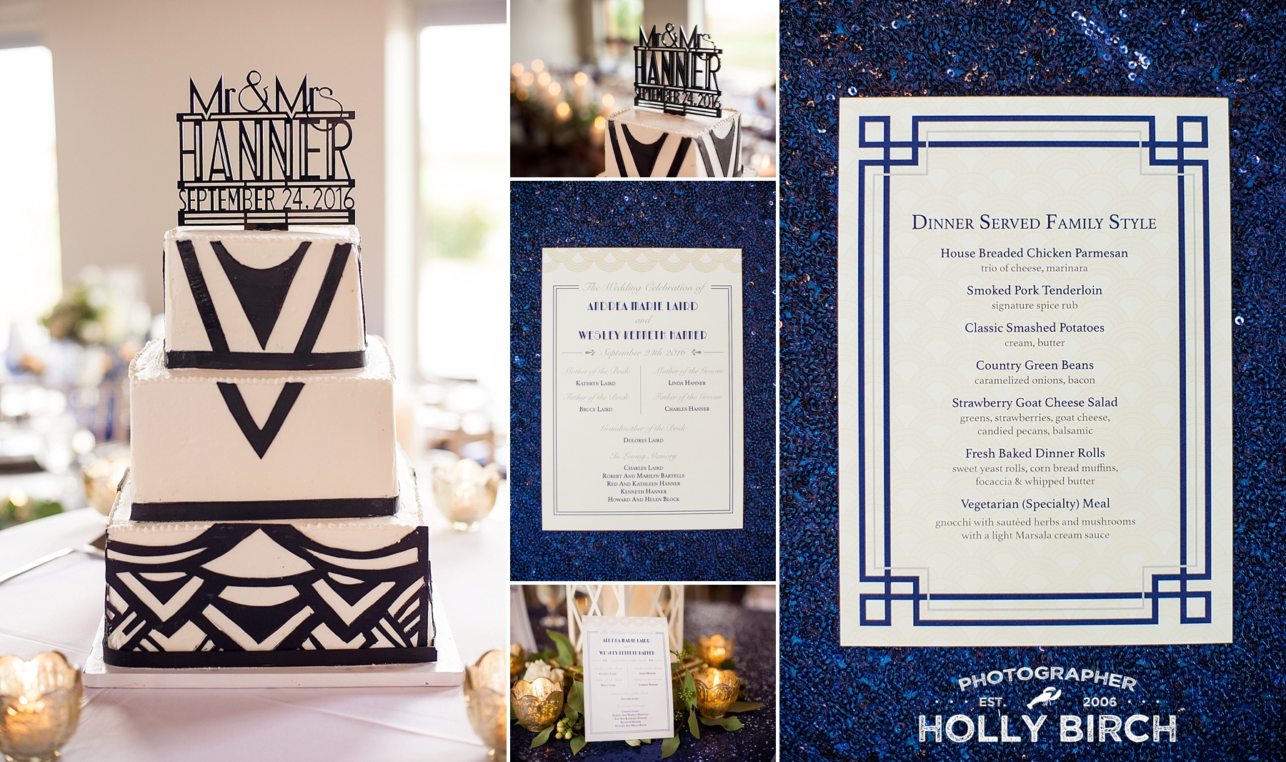 art deco wedding cake with navy print details