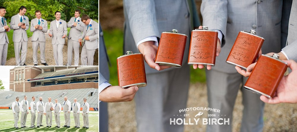 groomsmen having a good time with flasks